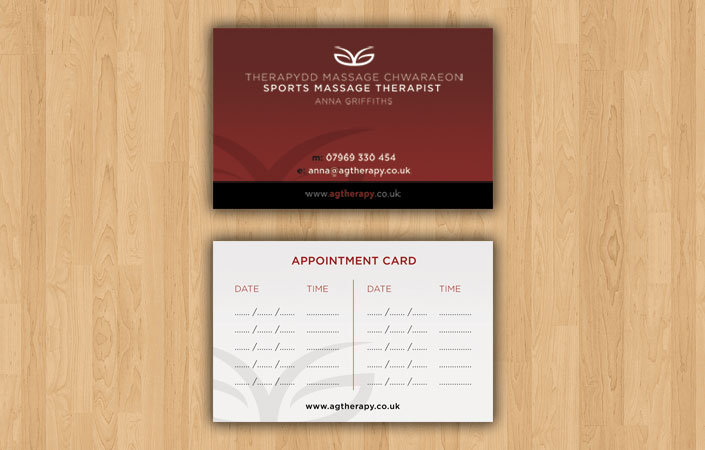 Graphic design portfolio anna griffiths sports massage therapist anna griffiths appointment and business card design colourmoves Gallery