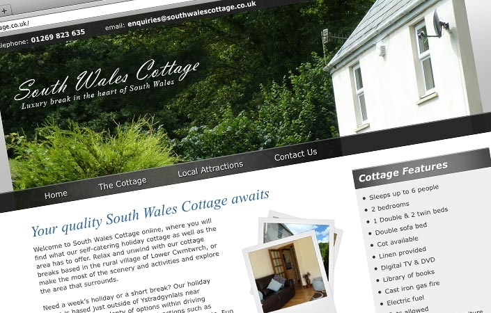 South Wales Cottage CMS website design