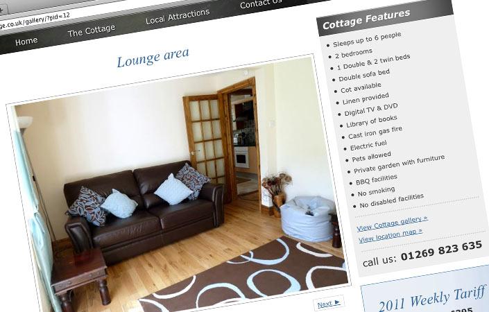 South Wales Cottage CMS website design