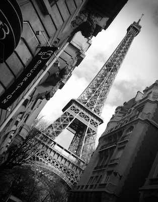 The Eiffel Tower, street view, Paris, France