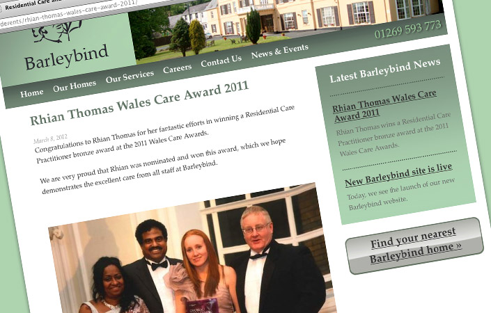 Barleybind care home CMS web design