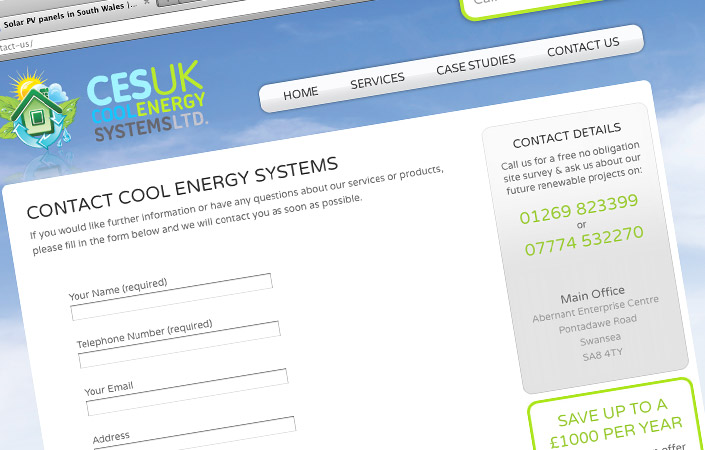 Cool Energy Systems solar energy website design south wales