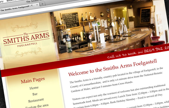 The Smiths Arms CMS web design