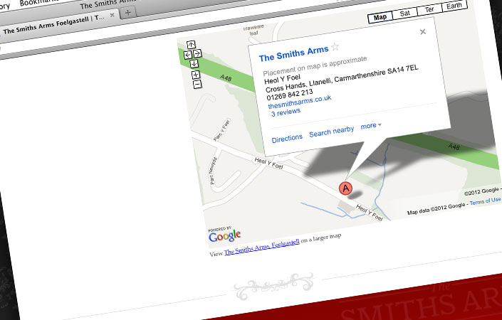 The Smiths Arms website design map