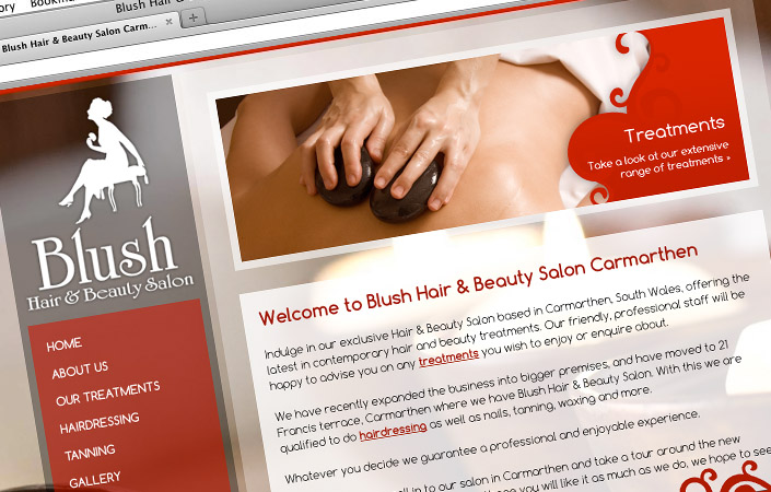blush hair and beauty salon CMS web design