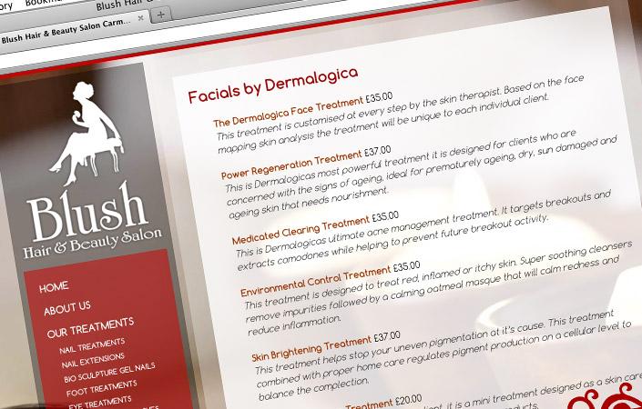 blush hair and beauty salon CMS web design