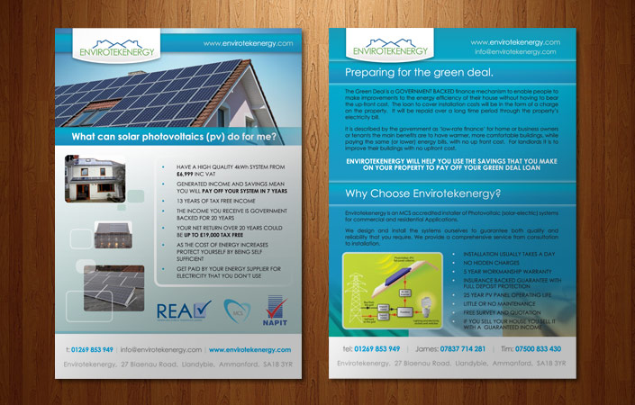 Envirotekenergy Solar A5 Flyer Design For The Public In