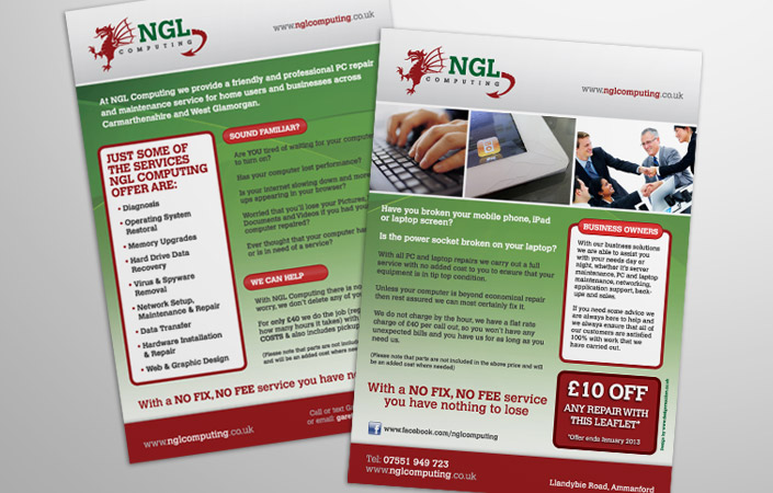 NGL Computing leaflet design and print