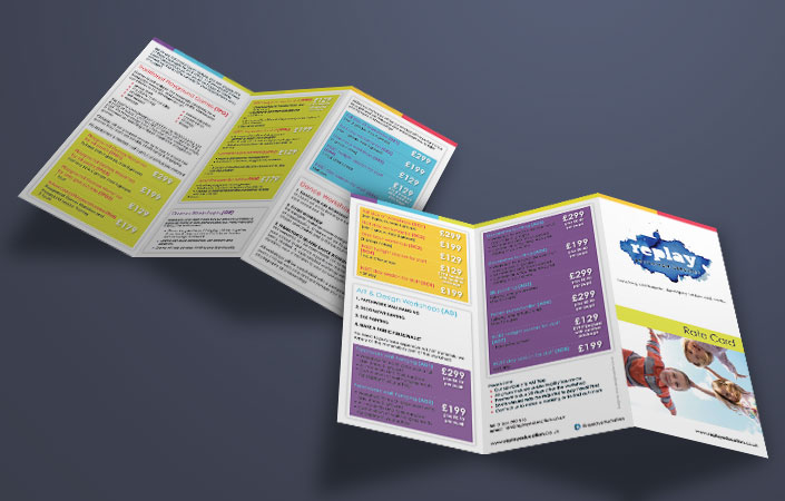 replay education services rate card design for print