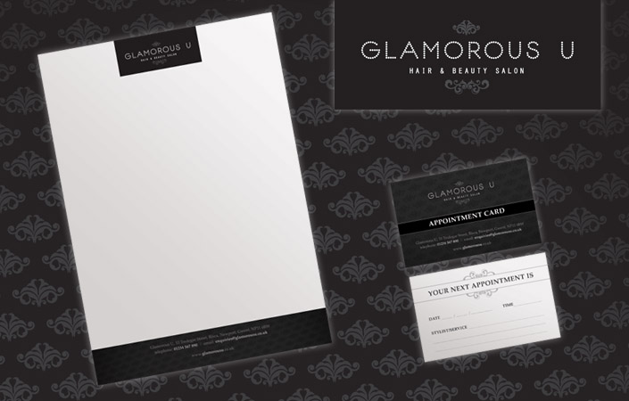 Glamorous U letterhad and appointmetn card design and print