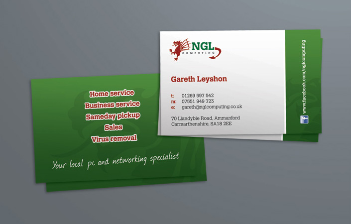 ngl computing ammanford business card design and print