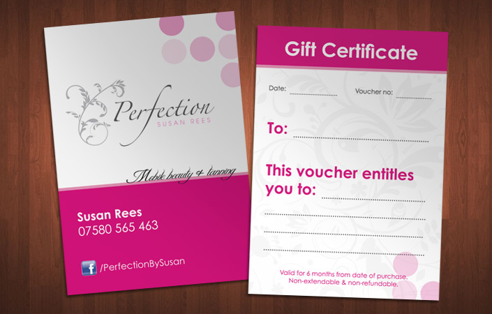 Perfection by Susan gift voucher design and print