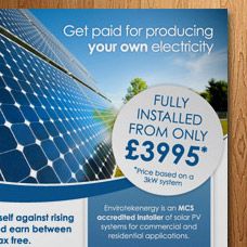 Envirotekenergy flyer for solar energy in Wales and NI print