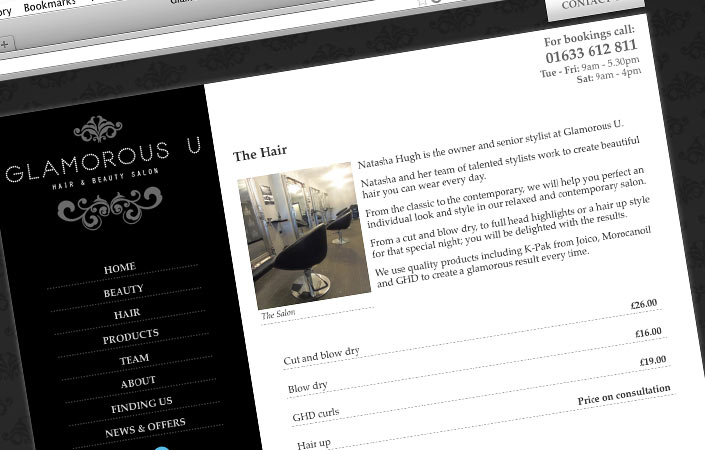 Glamorous U hair and beauty salon CMS web design
