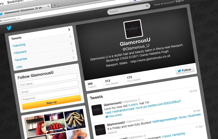 Glamorous U hair and beauty salon twitter & facebook setup