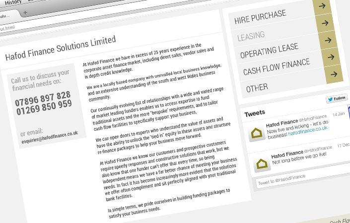 Hafod Finance CMS web design